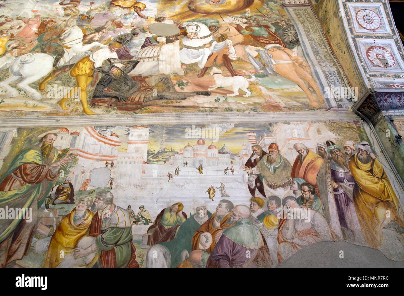VARALLO SESIA, ITALY - 25 APRIL 2018: medieval fresco in San Marco ...