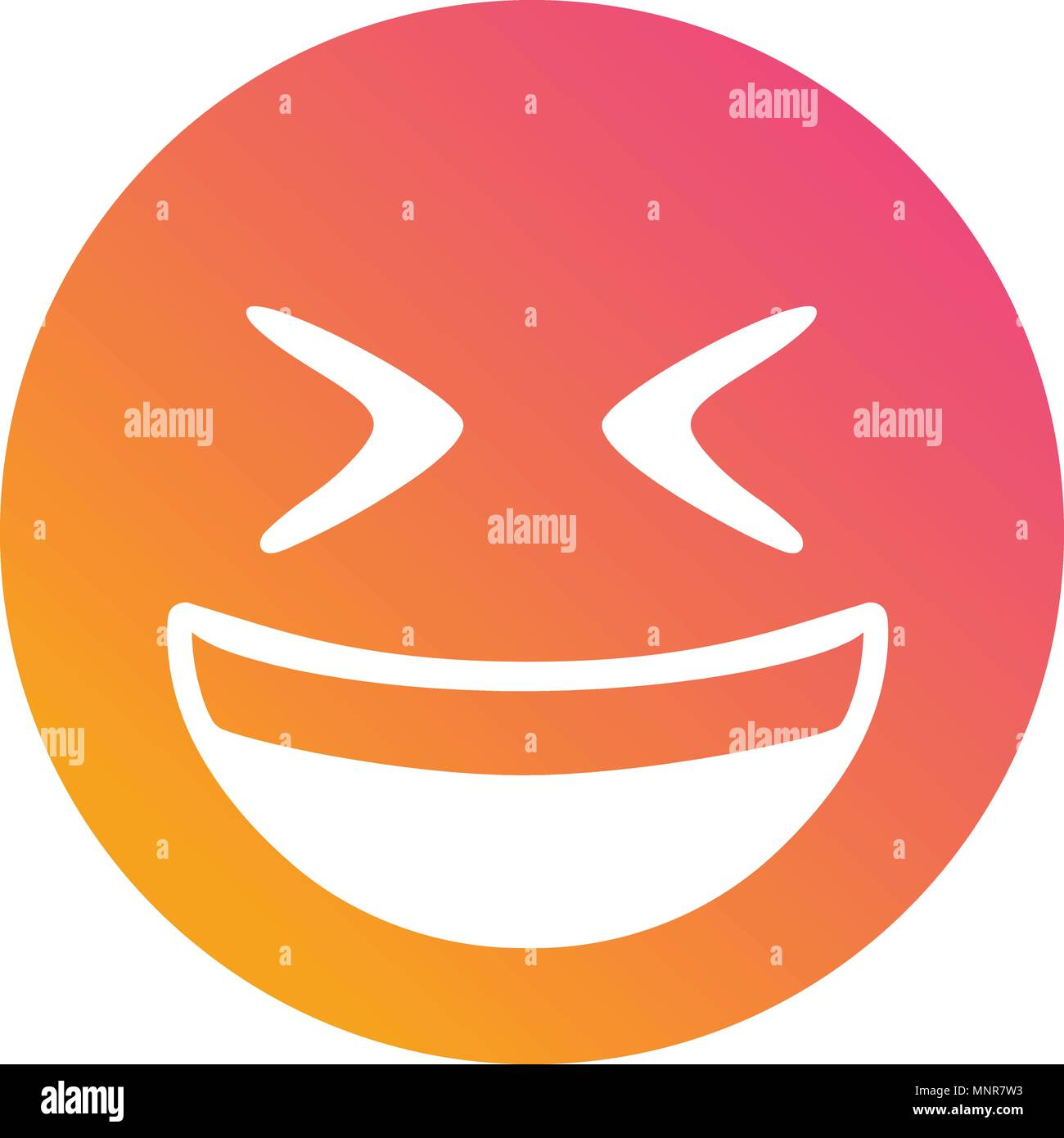 The isolated vector gradient laughing out loud face flat icon - Stock Vector