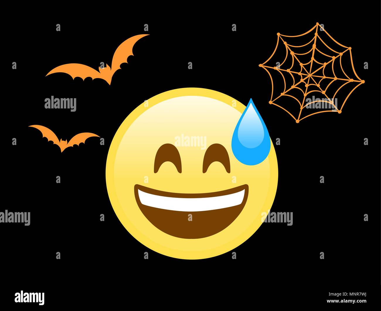 The isolated scary face flat icon with sweat, flying bat and spider net - Stock Vector