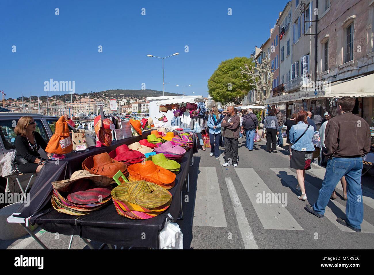 Street market a harbour of La Ciotat, Bouches-du-Rhone, Provence-Alpes-Côte d'Azur, South France, France, Europe Stock Photo