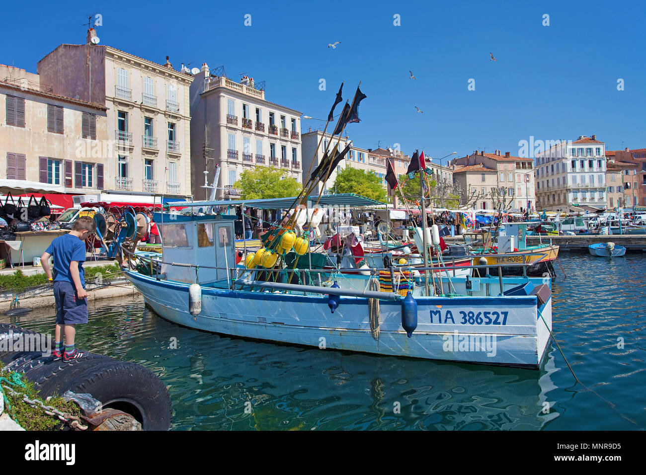 Fishing harbour of La Ciotat, Bouches-du-Rhone, Provence-Alpes-Côte d'Azur, South France, France, Europe Stock Photo