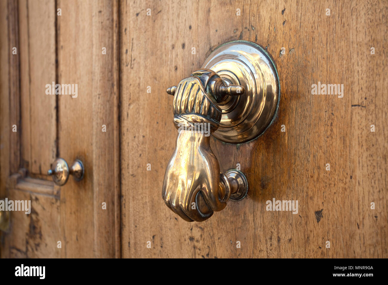 Nostalgic doorknocker at old town of Cassis, Bouches-du-Rhone, Provence-Alpes-Côte d'Azur, South France, France, Europe - Stock Image