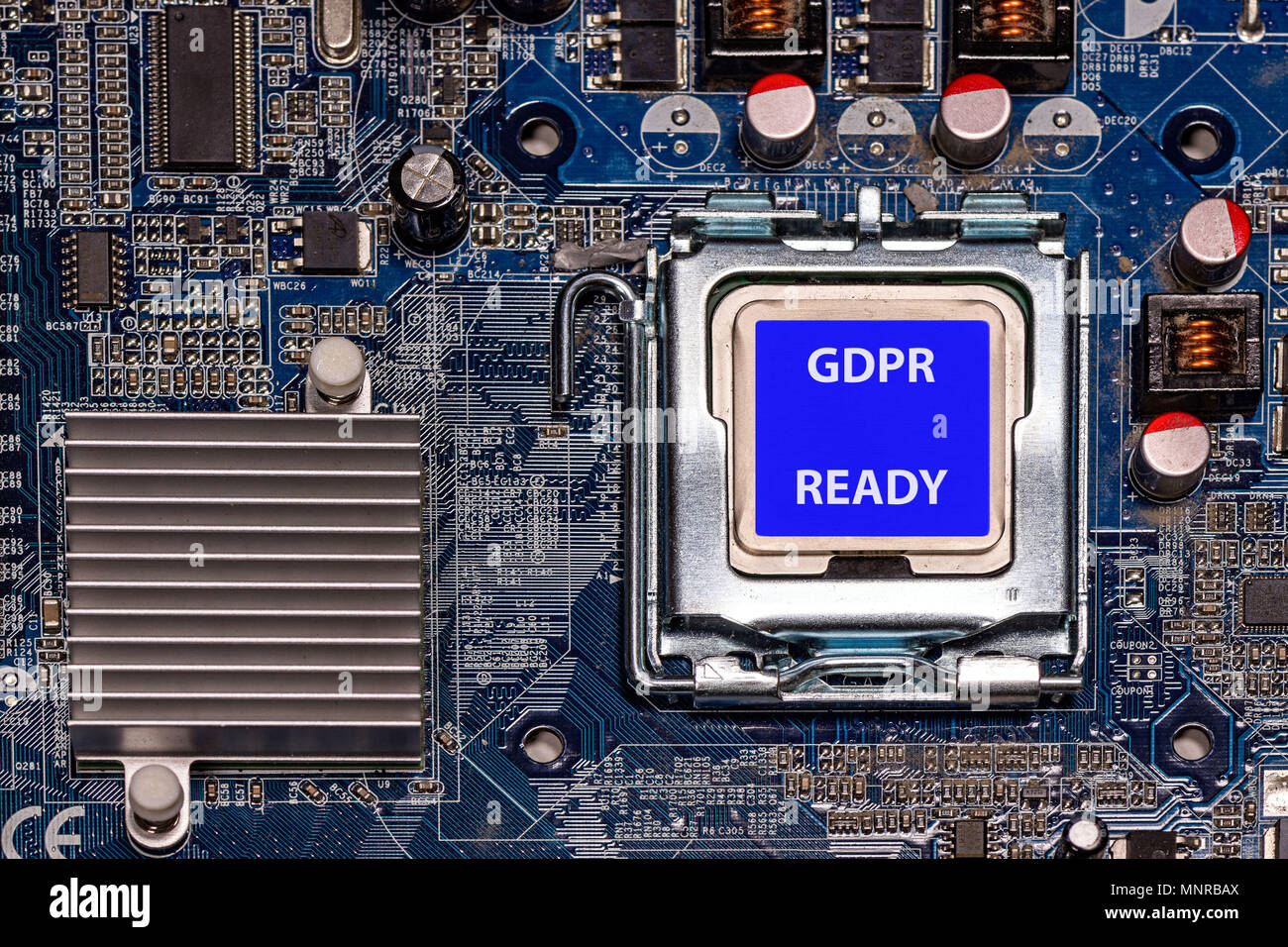 Close-up CPU with label GDPR READY on computer mother board - Stock Image