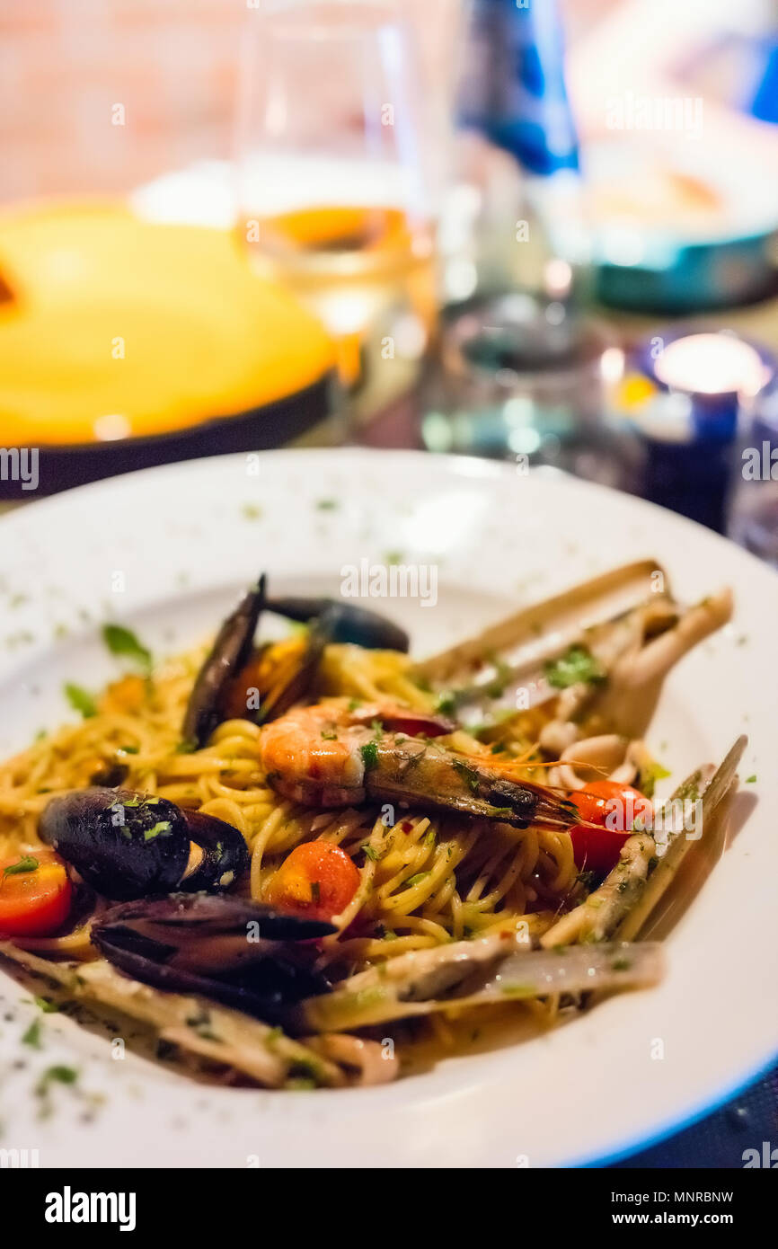Close up of a delicious seafood pasta - Stock Image