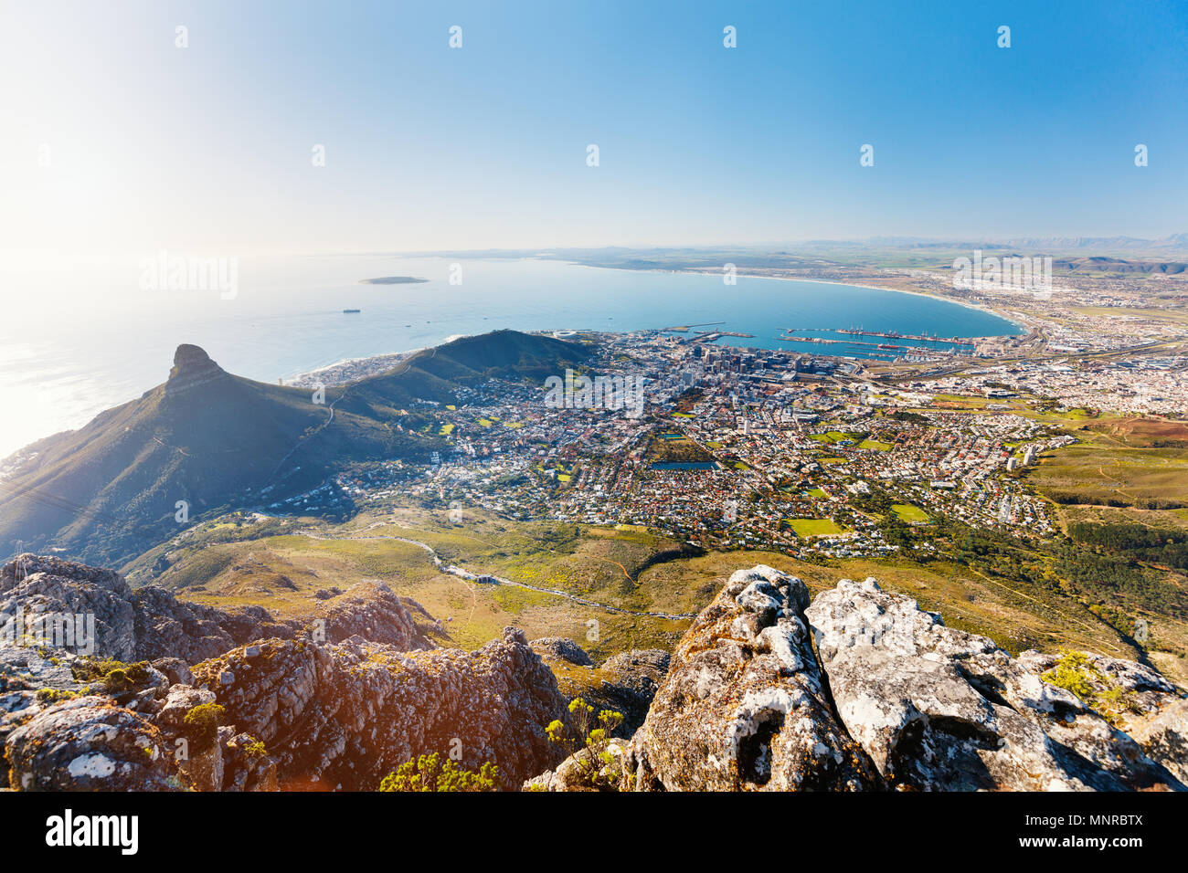 Breathtaking views of Cape Town from top of Table mountain - Stock Image