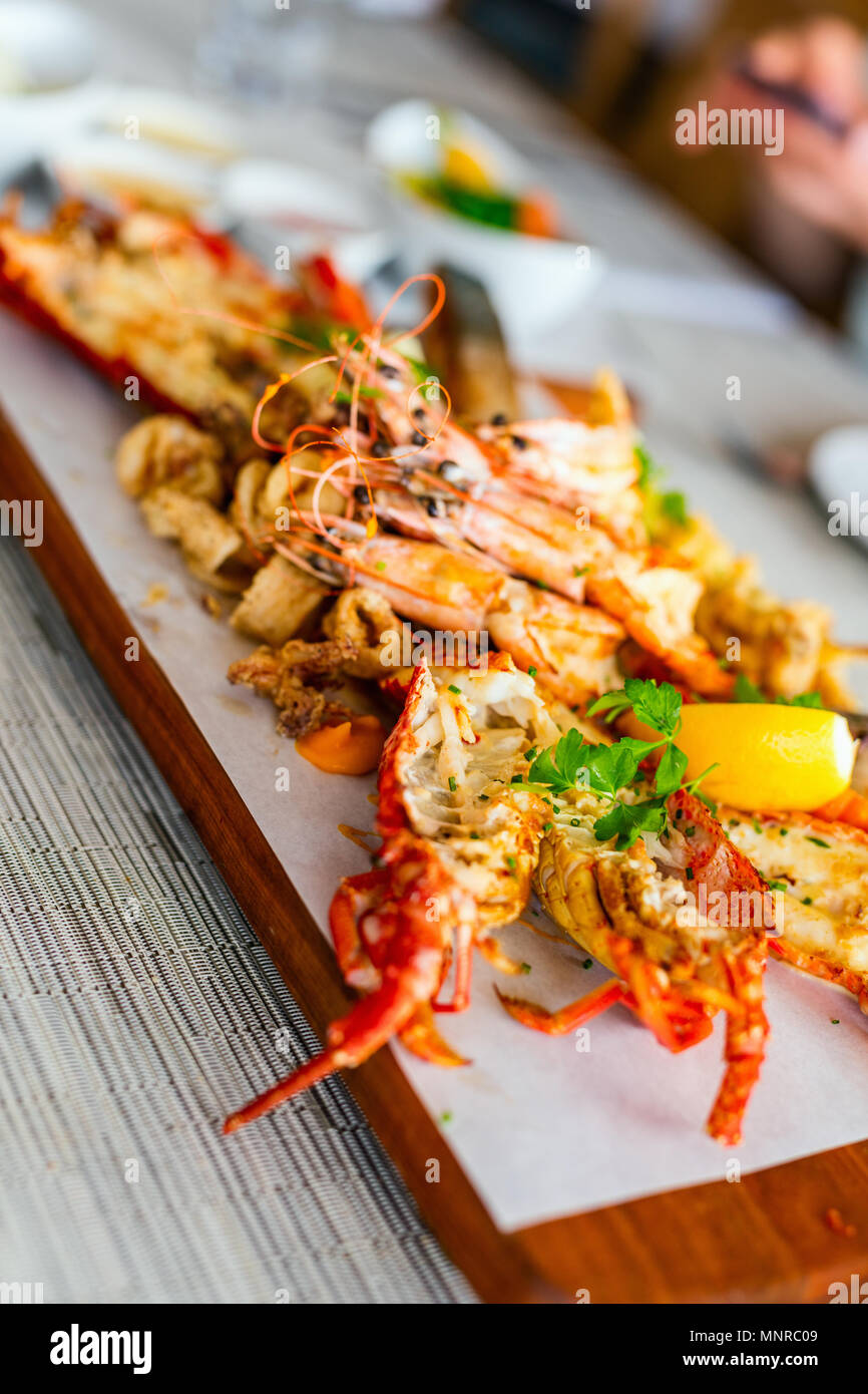 Close Up Of Delicious Grilled Seafood Platter Stock Photo Alamy