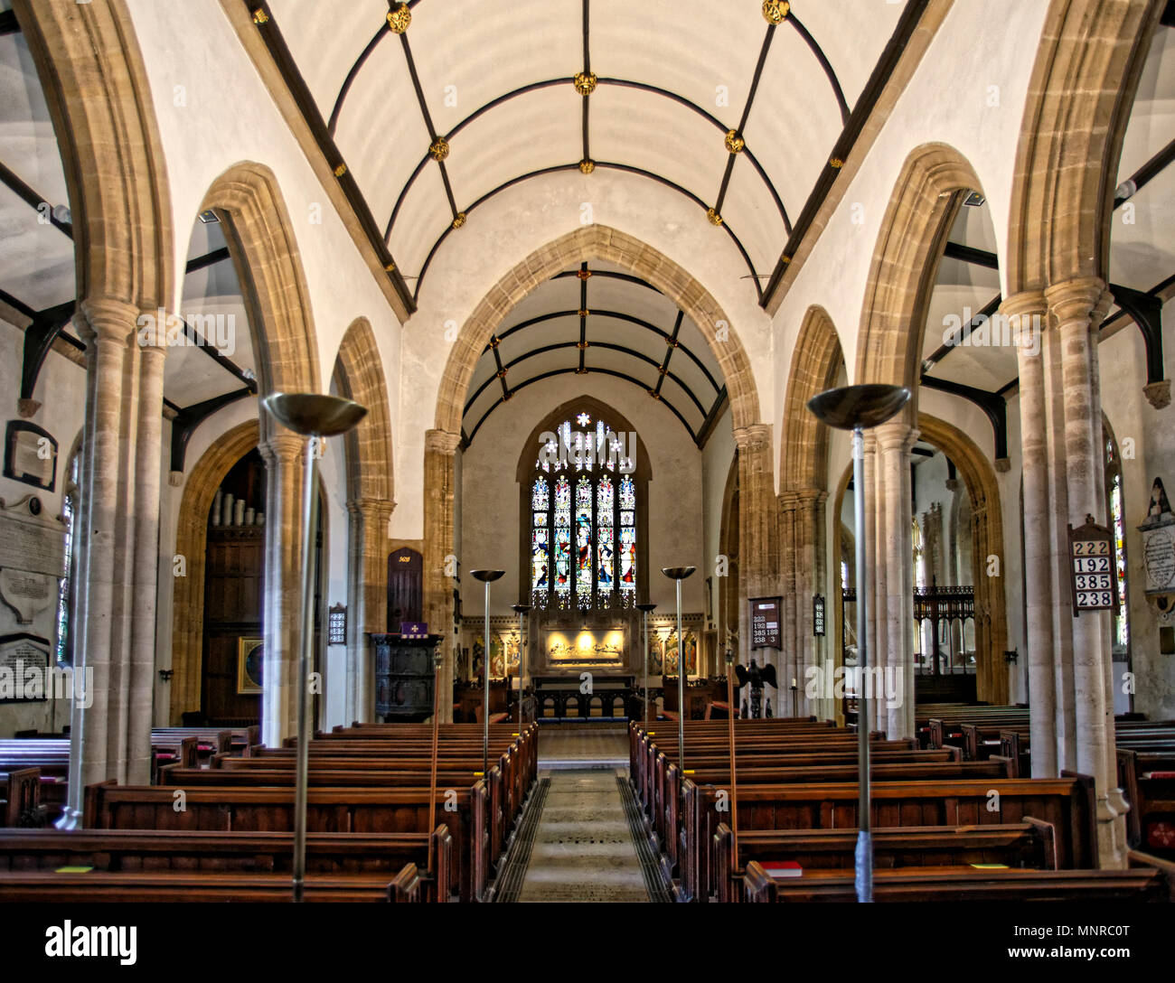 The building of St Peters Church, Dorchester, Dorset, largely dates from the mid fifteenth century, significantly restored in 1856-7 by J Hicks. - Stock Image