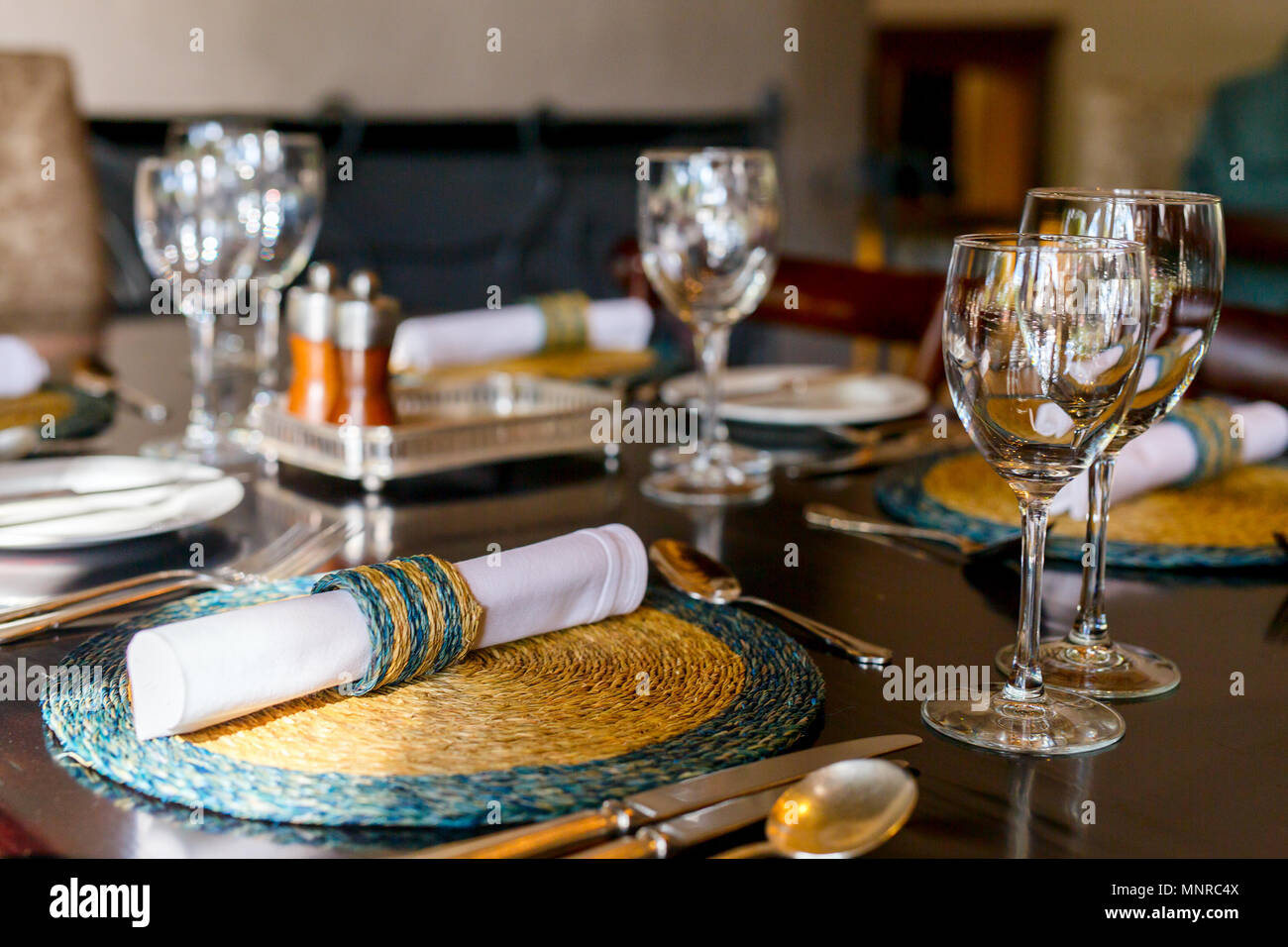 Table setting in a restaurant for romantic lunch or dinner - Stock Image
