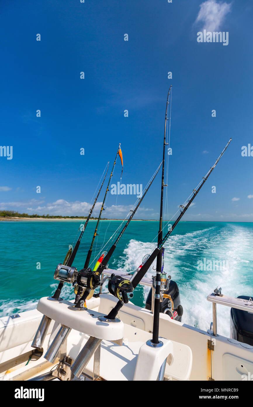 Boat deck at deep sea fishing - Stock Image