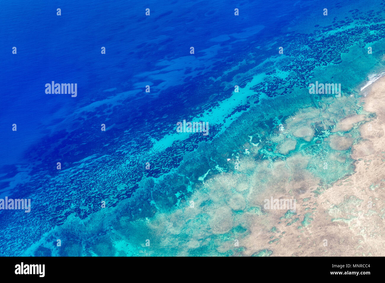 Beautiful view of Quirimbas archipilago in Mozambique from above - Stock Image