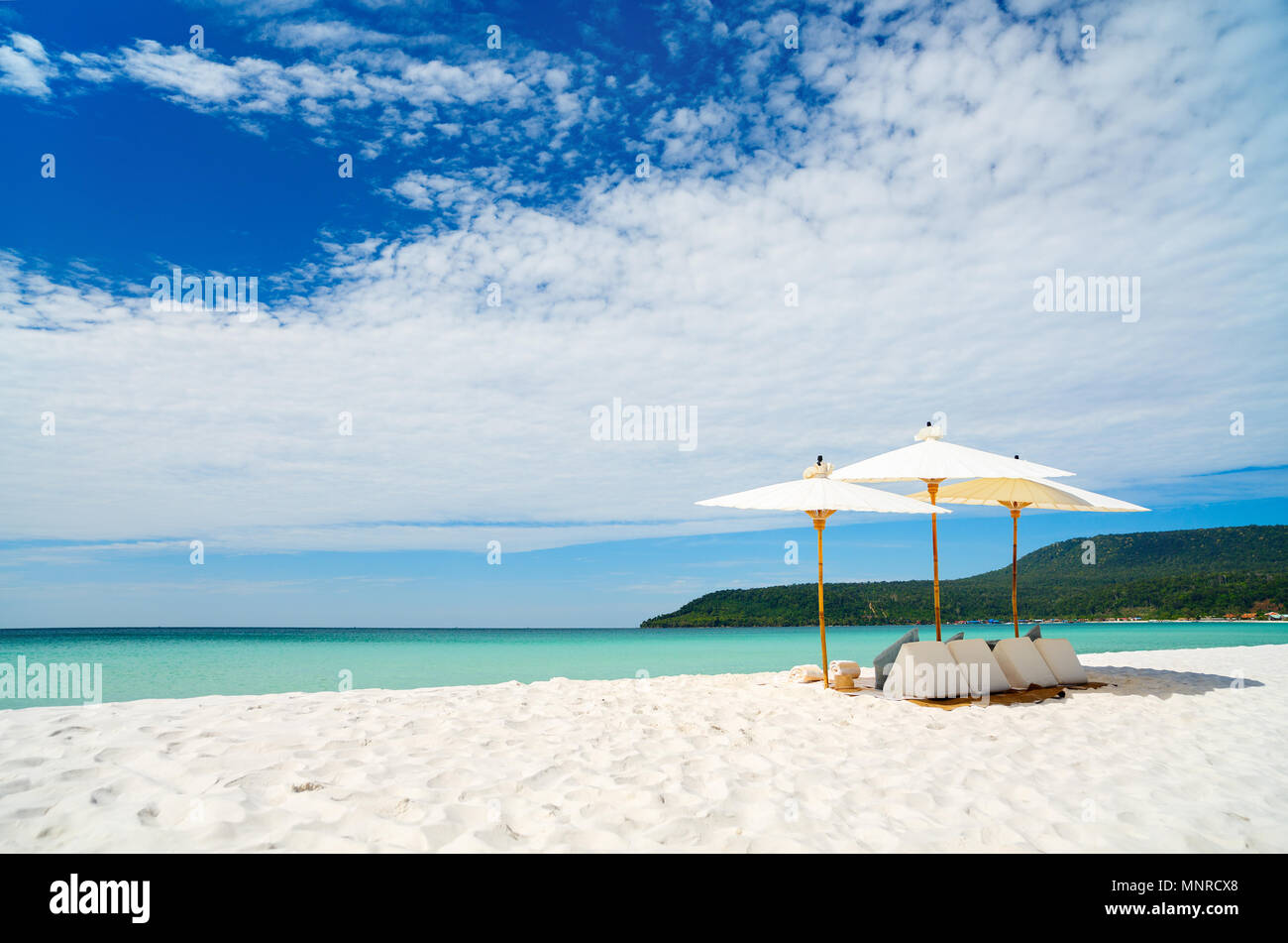 Landscape photo of beautiful white sand exotic beach on Koh Rong island in Cambodia - Stock Image
