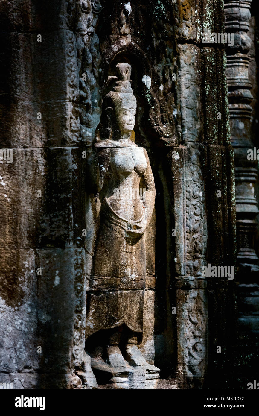 Bas reliefs in Preah Khan in Angkor Archeological area in Cambodia - Stock Image
