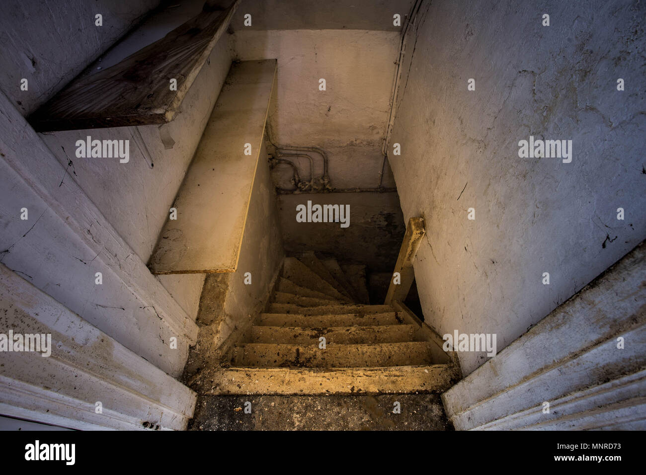 wooden stairs to the scary dark basement Stock Photo 185526743 Alamy