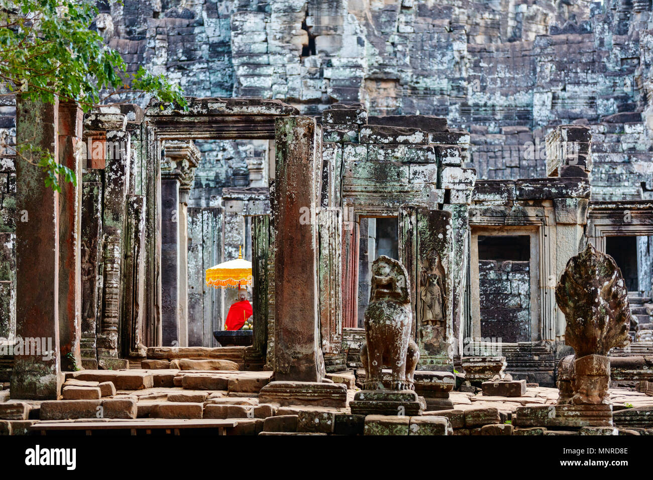 Stunning Bayon temple in Angkor Archaeological area in Cambodia - Stock Image