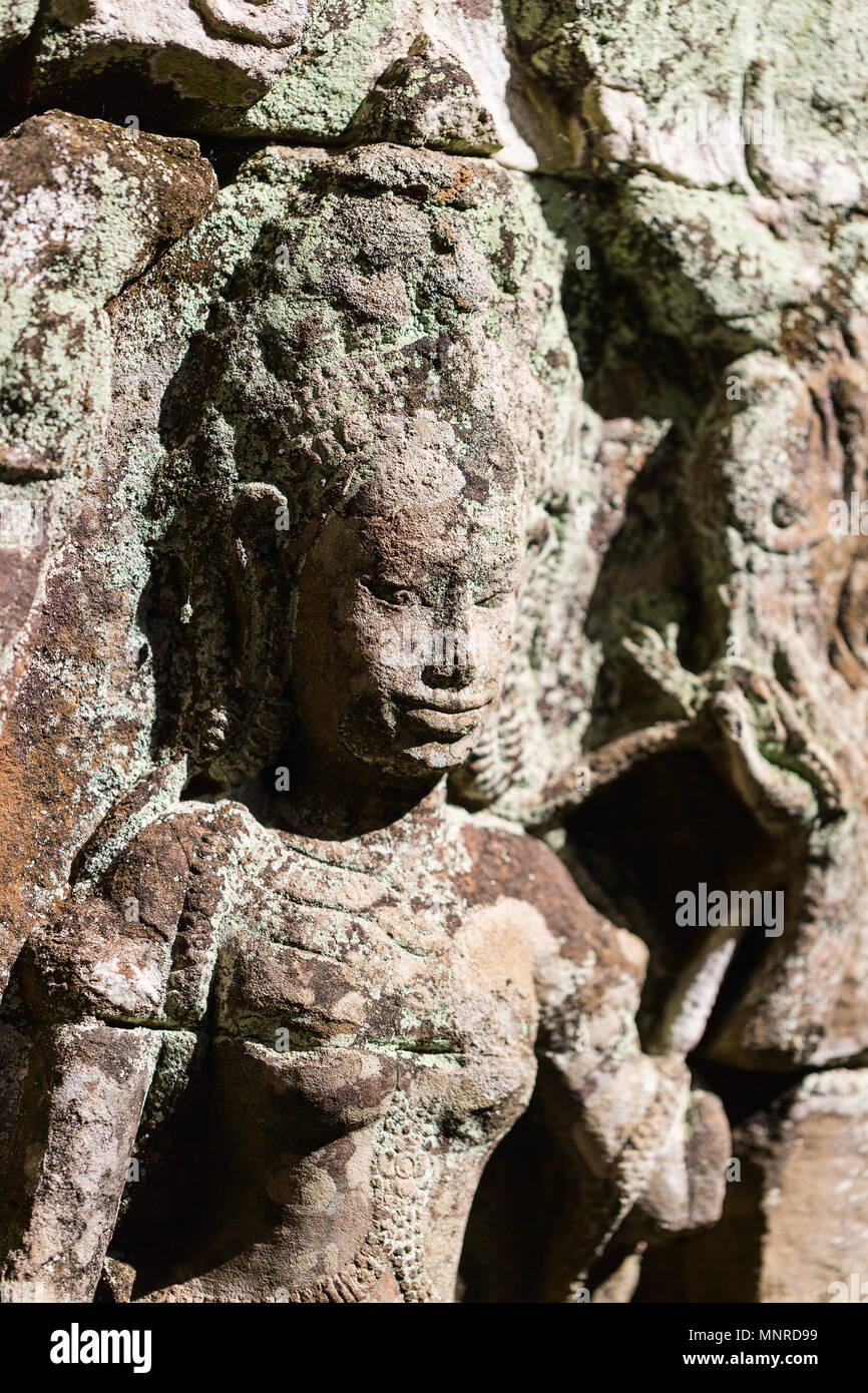 Bas reliefs in Preah Khan in Angkor Archaeological area in Cambodia - Stock Image