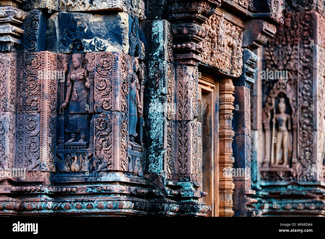 Beautiful Banteay Srei temple carvings in Angkor Archaeological area in Cambodia Stock Photo