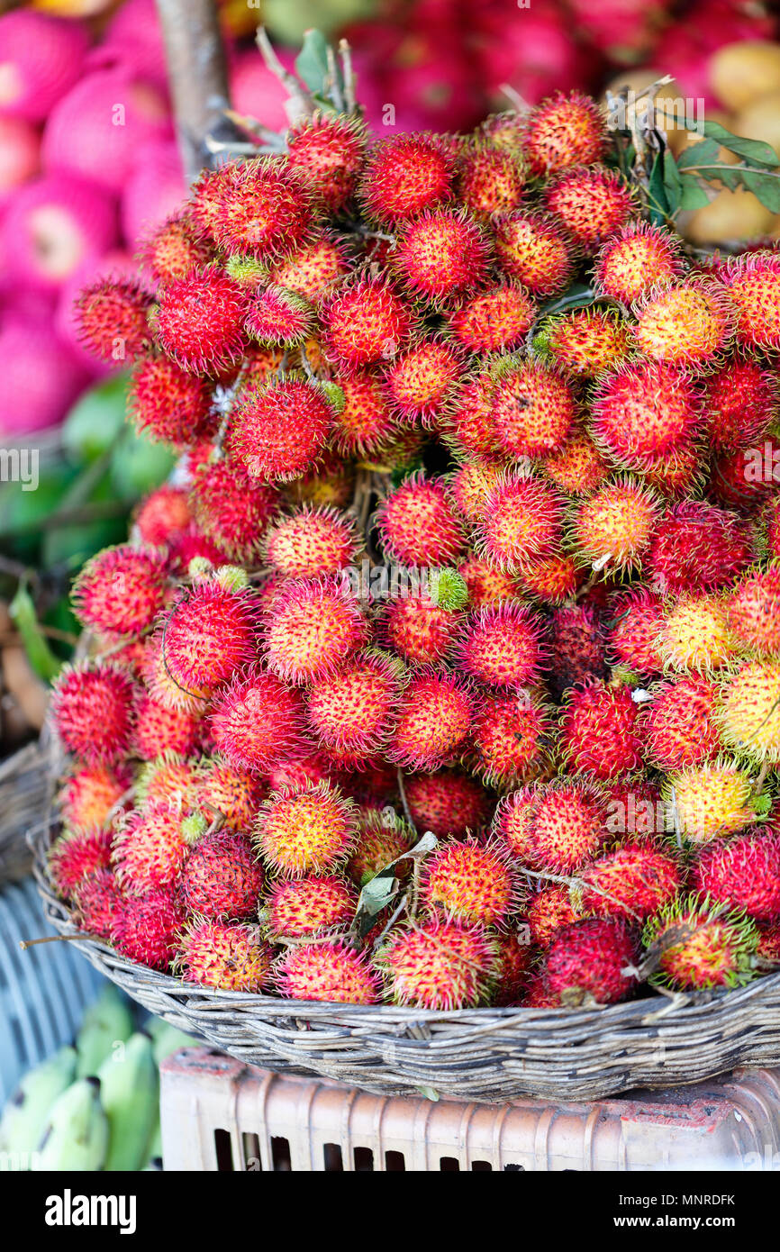 Assortment of fresh exotic rambutan fruits on market stall - Stock Image