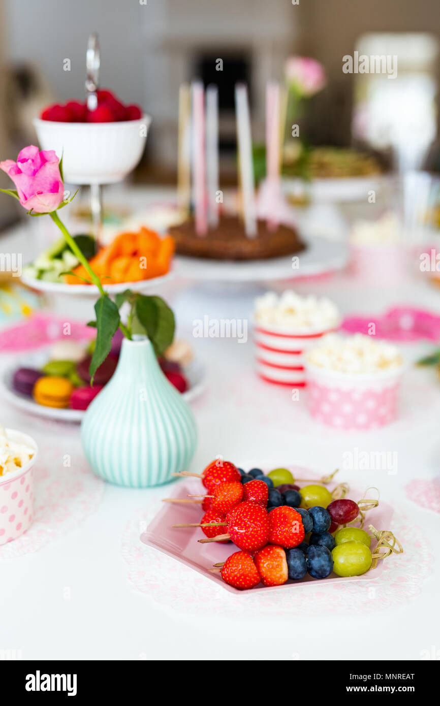 Cake Candies Marshmallows Popcorn Fruits And Other Sweets On Dessert Table At Kids Birthday Party