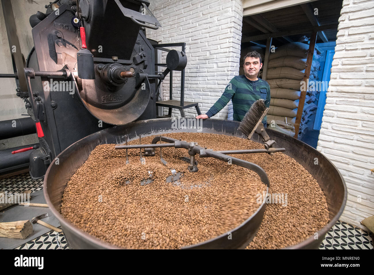 Adult male leans against coffee bean roaster as a mechanical arm slowly rotates freshly roasted coffee beans to cool them down, Istanbul, Turkey. Stock Photo