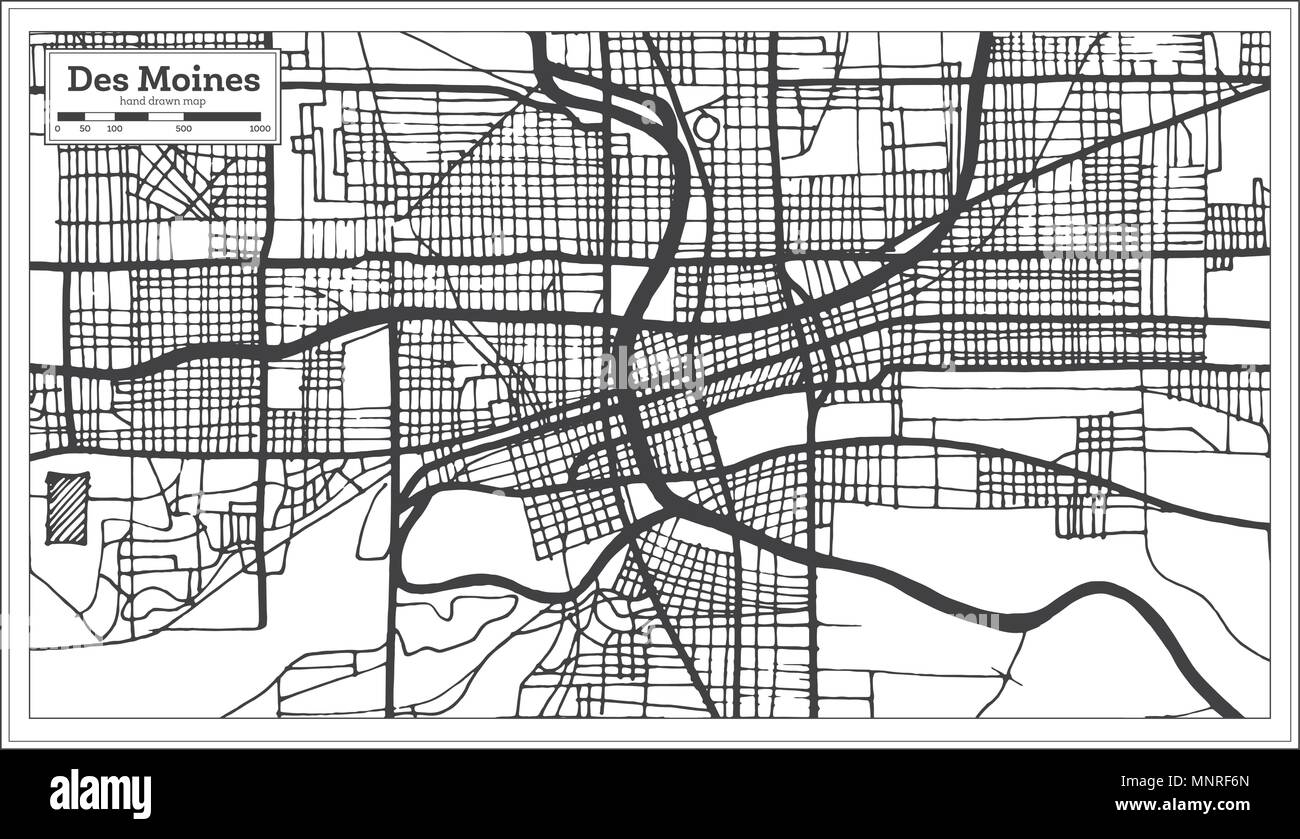 Des Moines USA City Map in Retro Style. Outline Map. Vector ... on