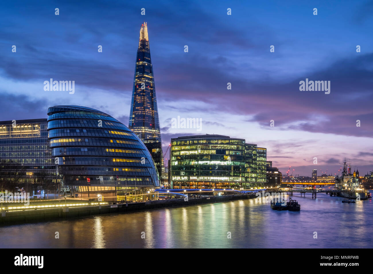 City Hall, The Shard and River Thames at night, London, England, UK - Stock Image