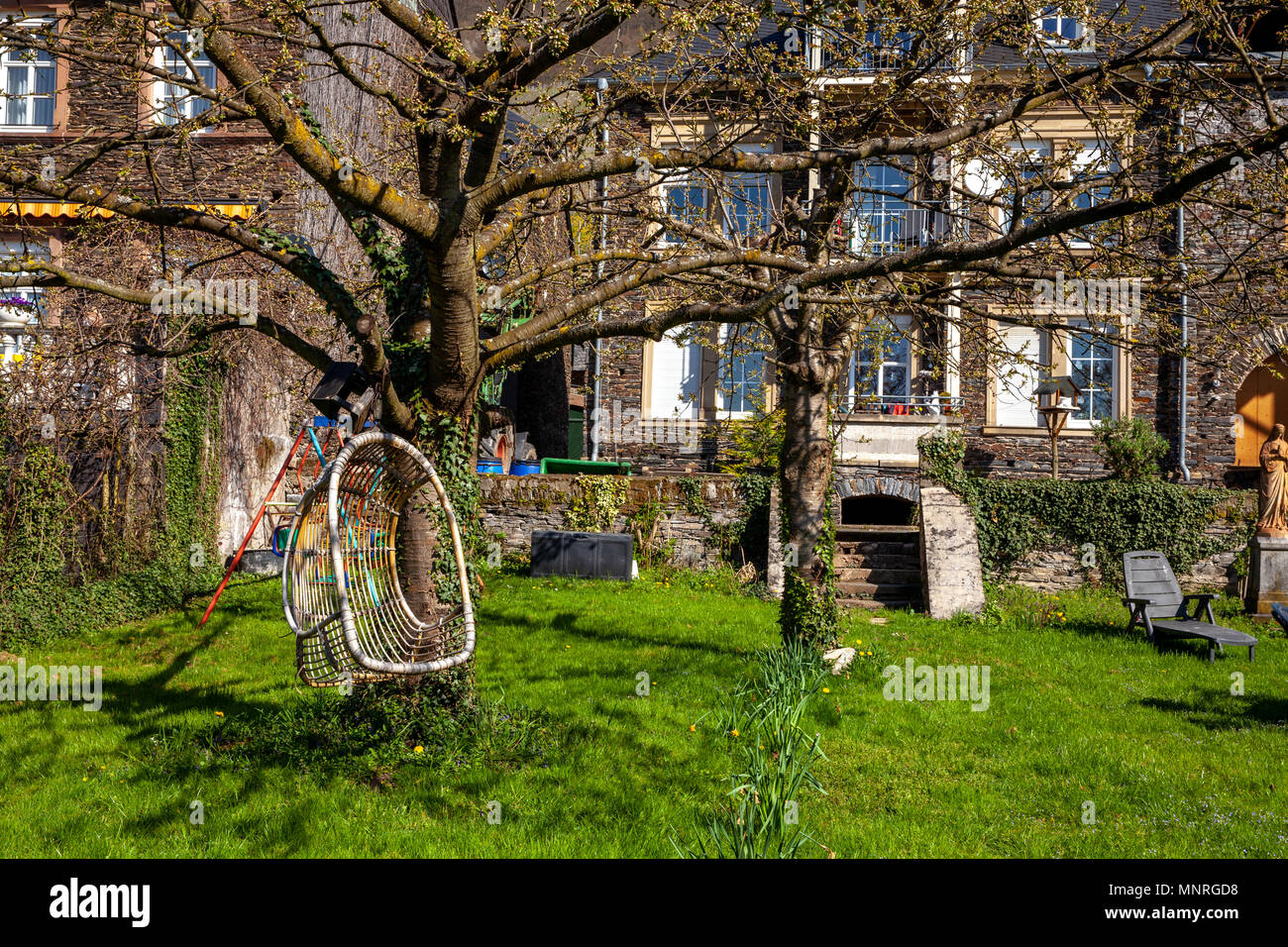 Private house and garden landscape on the Moselle. Germany homely Gardens Stock Photo
