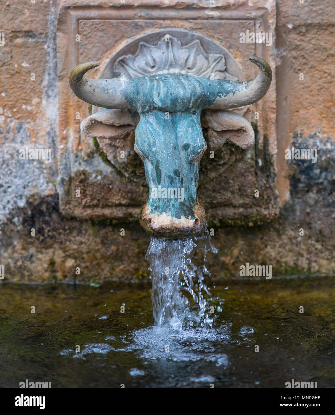 Dos Bous water fountain, Benabarre village, Ribagorza, Huesca, Aragon, Spain, Europe - Stock Image