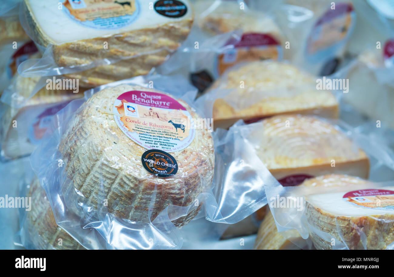 Benabarre goat cheese, Benabarre village, Ribagorza, Huesca, Aragon, Spain, Europe - Stock Image