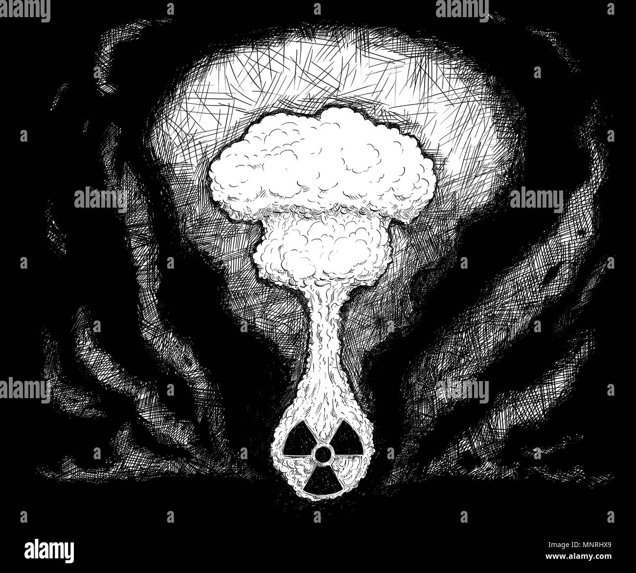 Artistic Pen and Ink Drawing Illustration of Nuclear Explosion - Stock Image