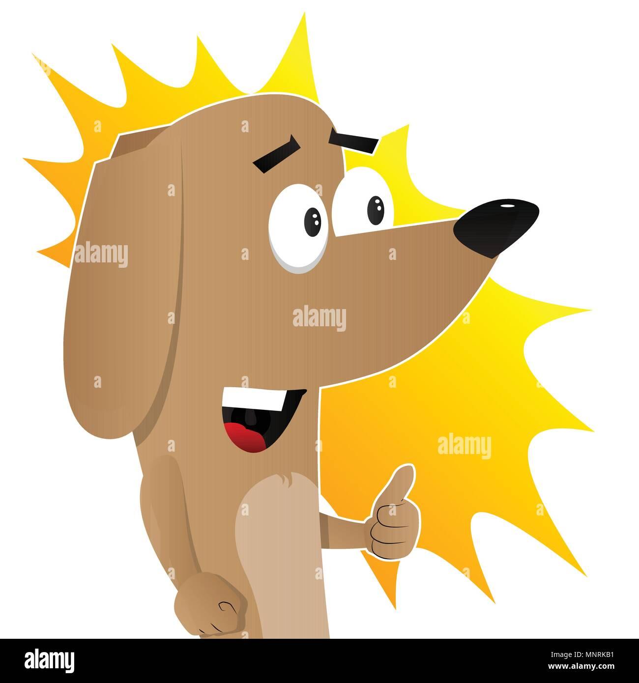 Cartoon illustrated I like dog showing thumb up sign. - Stock Vector