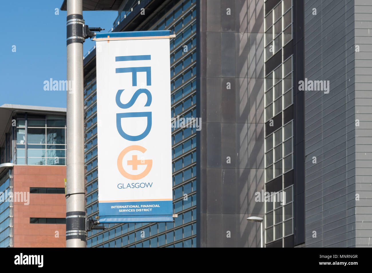 Glasgow IFSD - International Financial Services District - banner, Scotland, UK - Stock Image