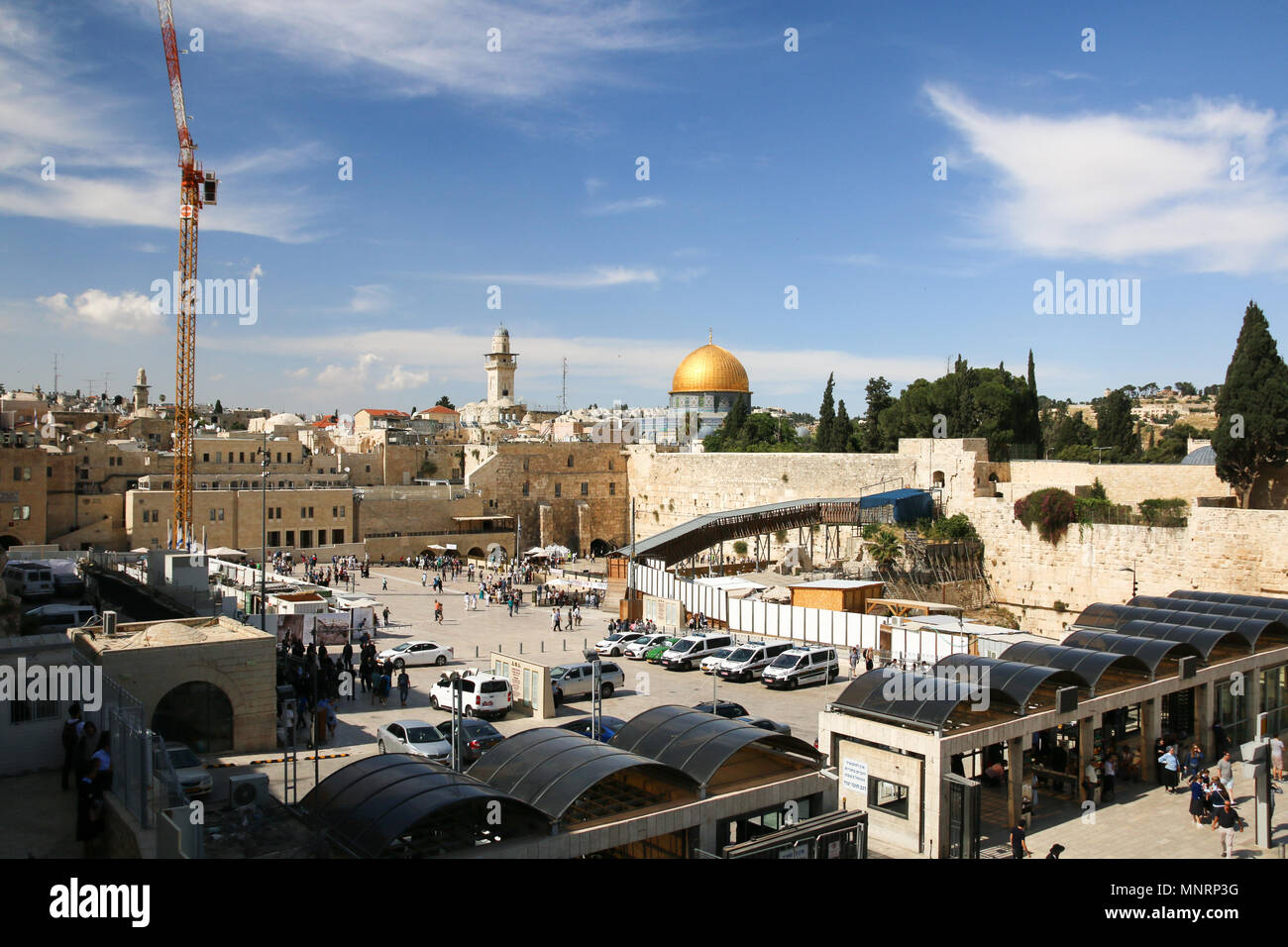 Jerusalem, Israel - May 16, 2018: View of the Wailing Wall in Jerusalem with the Dome of the Rock in the background, Israel. - Stock Image
