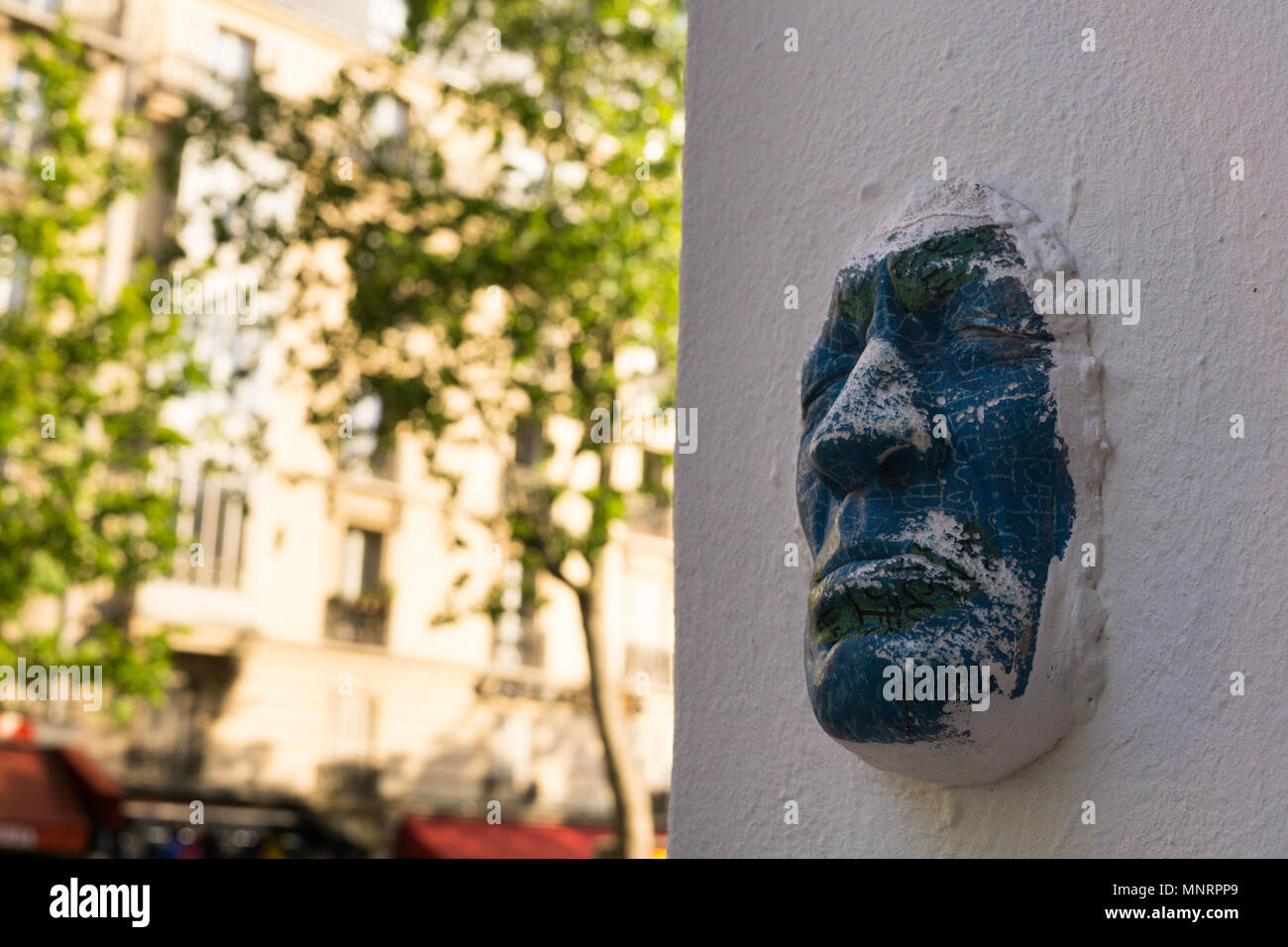 Face on the wall - art installation of the Parisia artist Gregos in ...