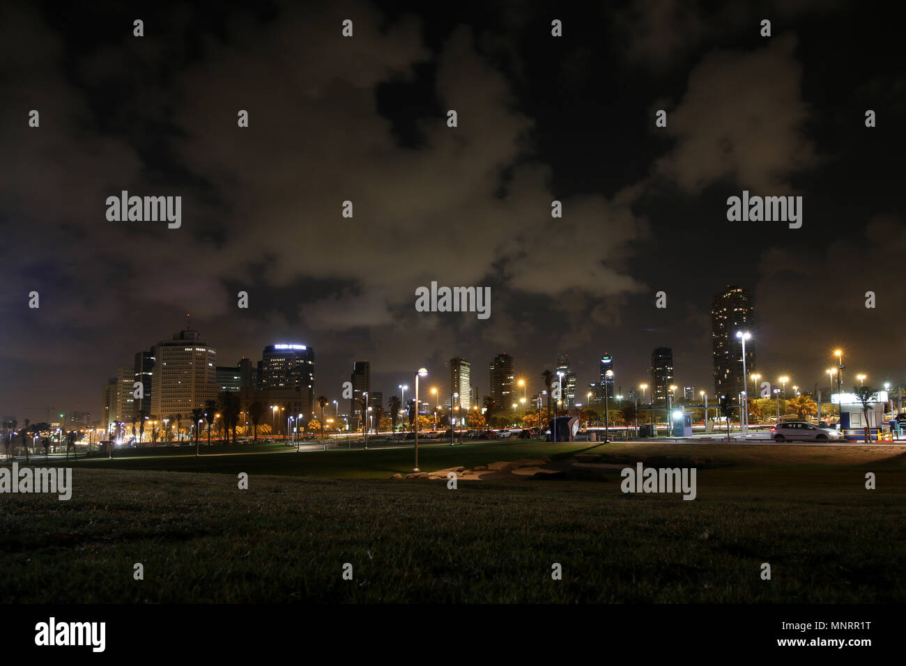 Tel Aviv, Israel - May 12, 2018: View of the coastal metropolis Tel Aviv at night, Israel. - Stock Image