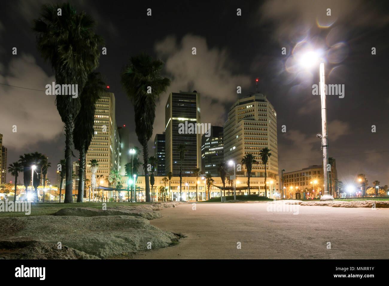 Tel Aviv, Israel - May 12, 2018: View of hotels on the beach of the coastal metropolis Tel Aviv at night, Israel. - Stock Image