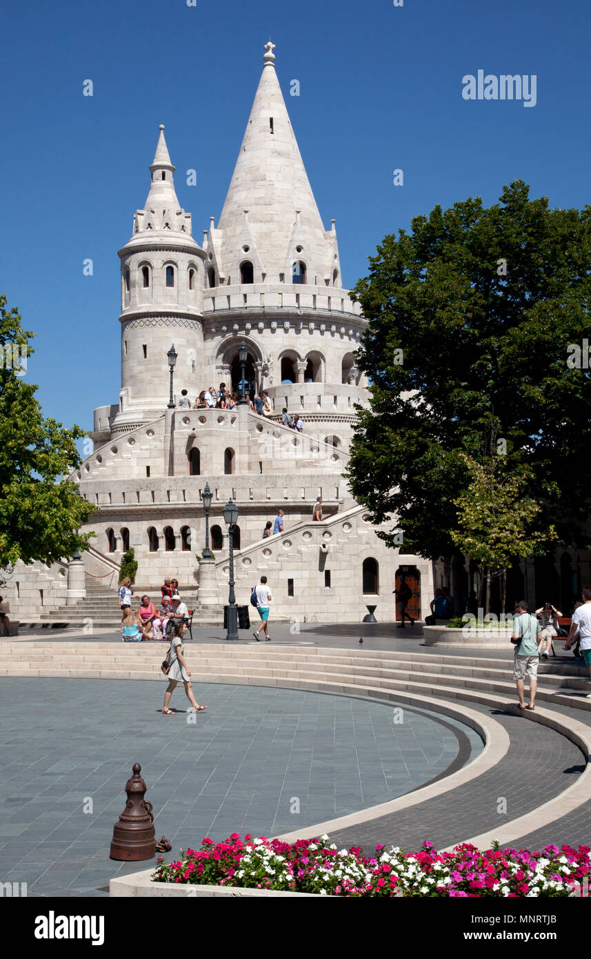 Trinity Square and Fisherman's Bastion, Buda Hill, Budapest, Hungary. - Stock Image
