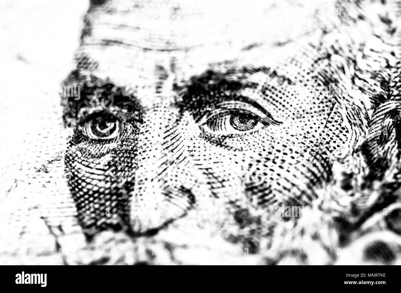 Macro detail from the engraved face in the bank note of 1 peseta from 1953 - Stock Image