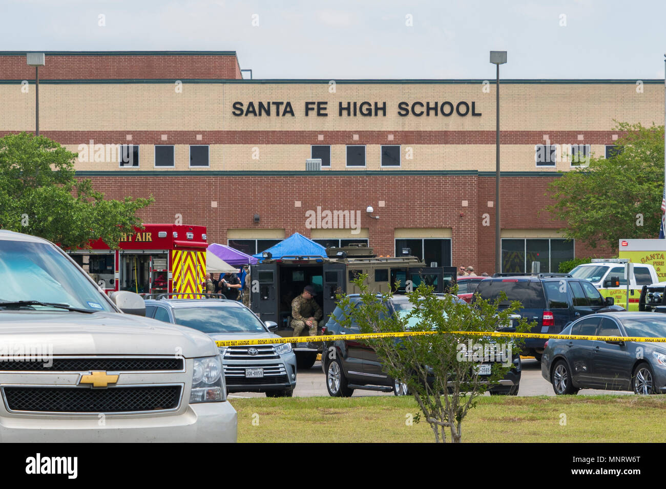 City of Santa Fe, Texas - May 18, 2018: Multiple Local, State and Federal, Enforcement Agencies Processing Active Crime Scene Following A Shooting In  - Stock Image