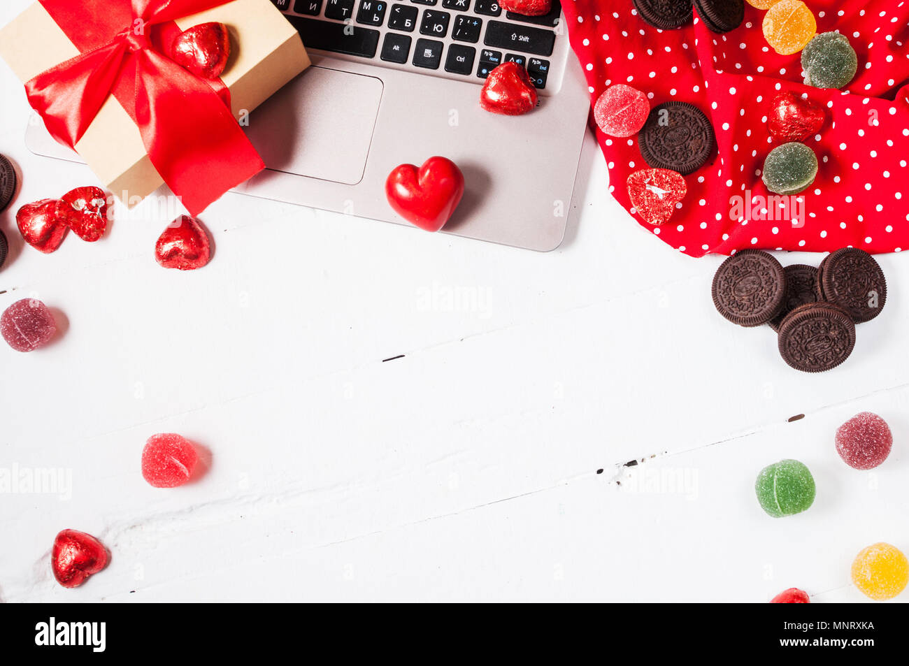 Preparing For St Valentine S Day Laptop Gift Decorations And