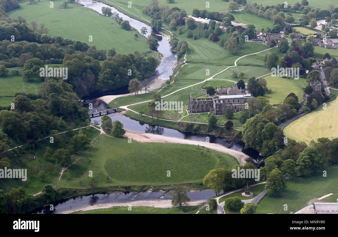 aerial view of Bolton Priory at Bolton Abbey near Skipton, North Yorkshire, UK - Stock Image