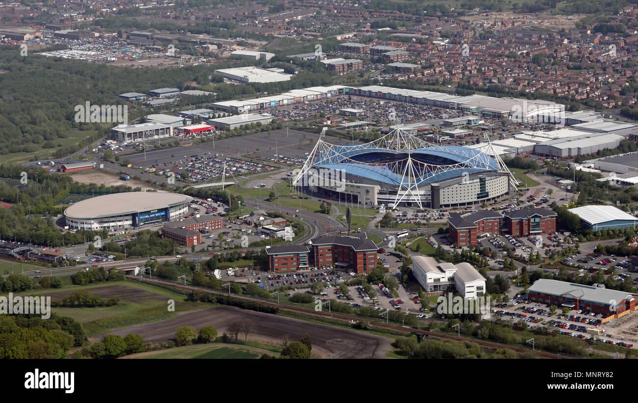 aerial view of the Reebok Bolton development including the Macron Stadium, UK - Stock Image