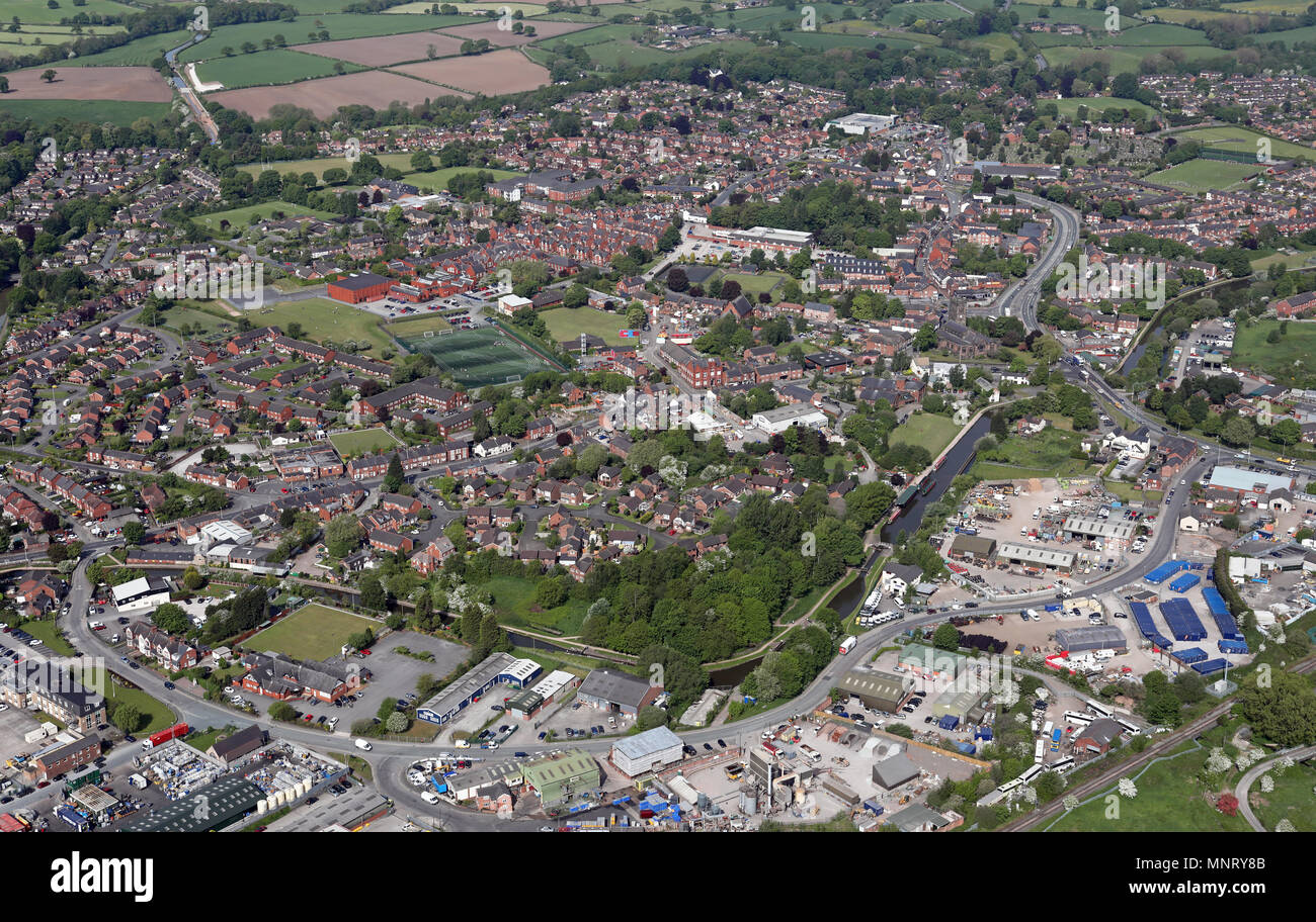 aerial view from the south east across Brooks Lane of Middlewich in Cheshire - Stock Image