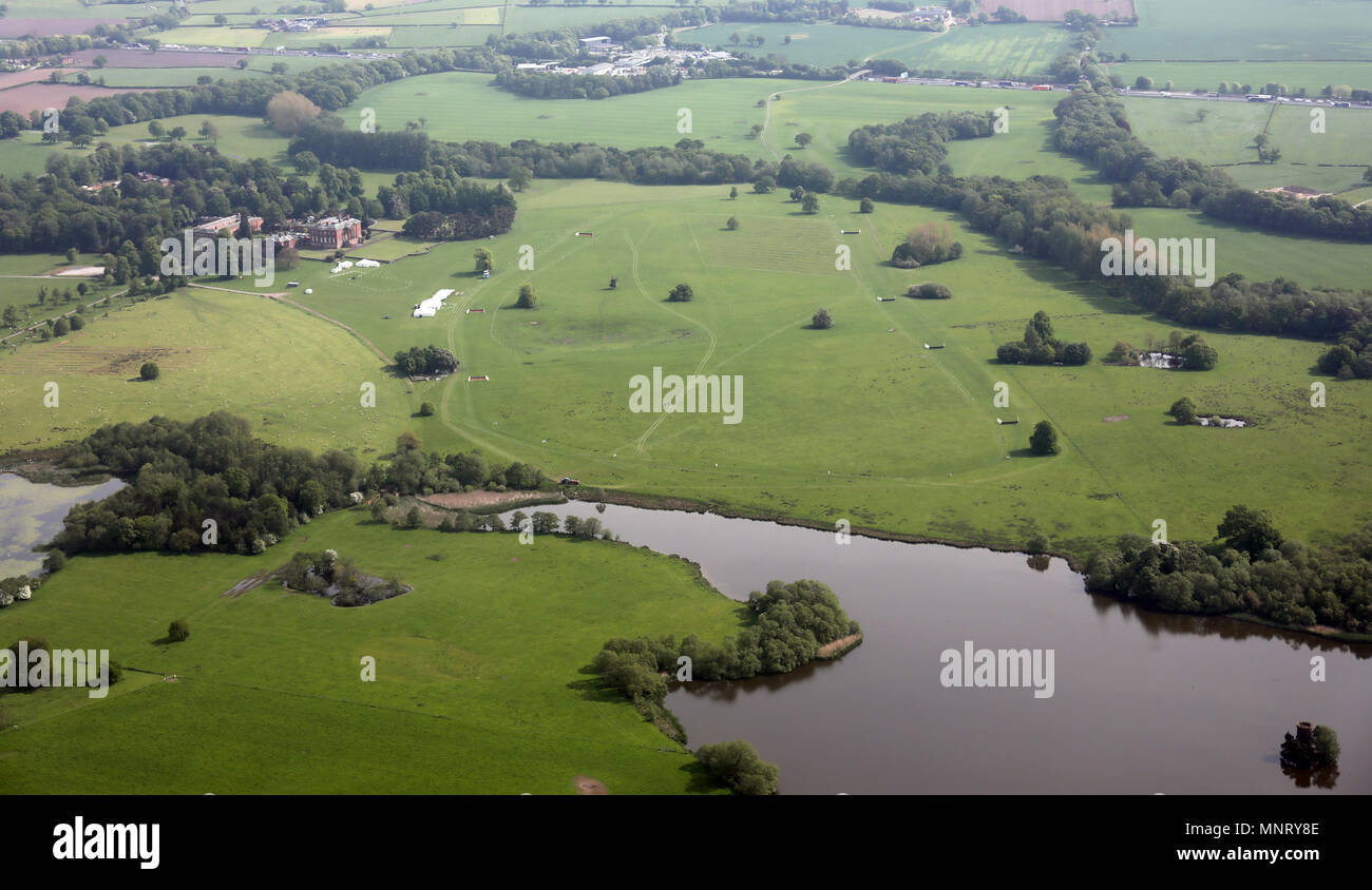 aerial view of the Tabley House Stately Home and grounds, Cheshire, UK Stock Photo