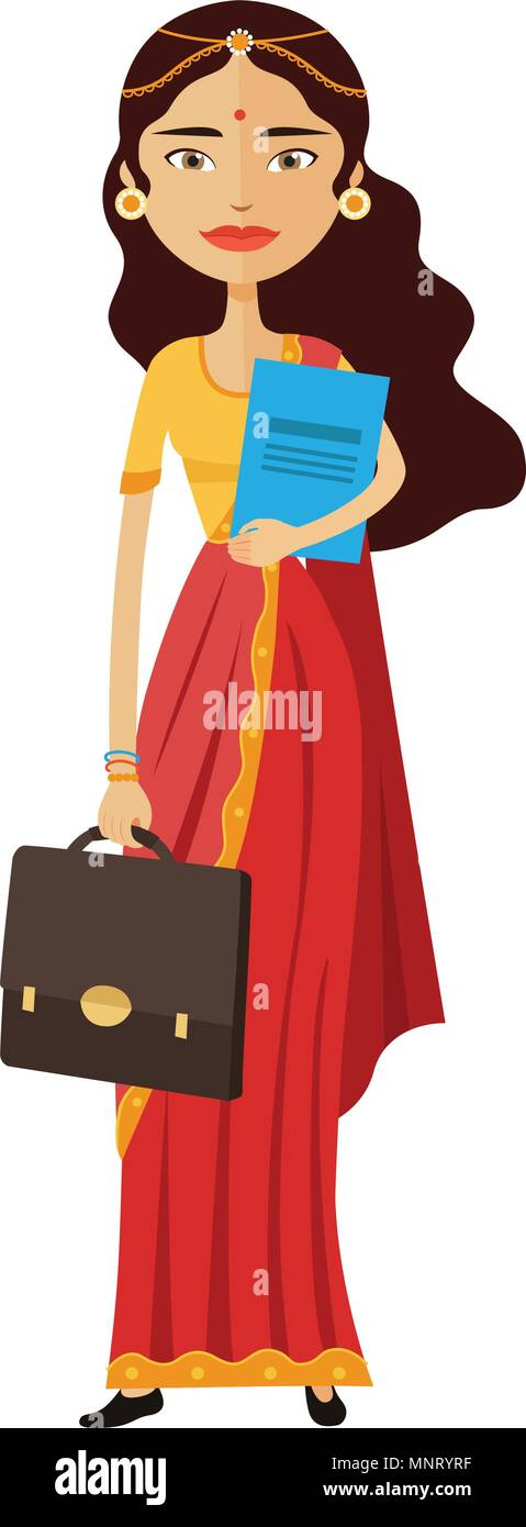 Flat business indian secretary standing vector isolated - Stock Vector