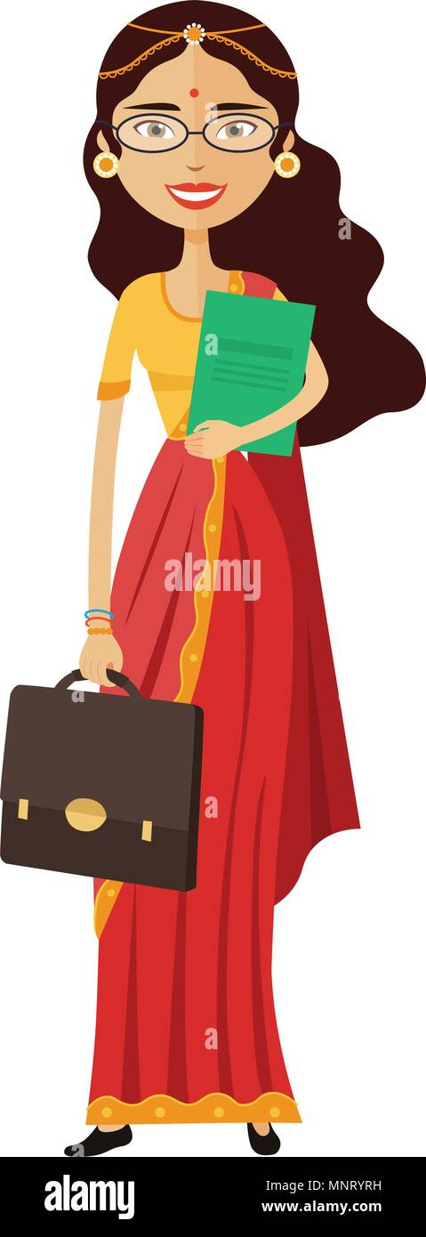 Indian banker or worker lady with glasses and briefcase flat cartoon vector illustration - Stock Vector