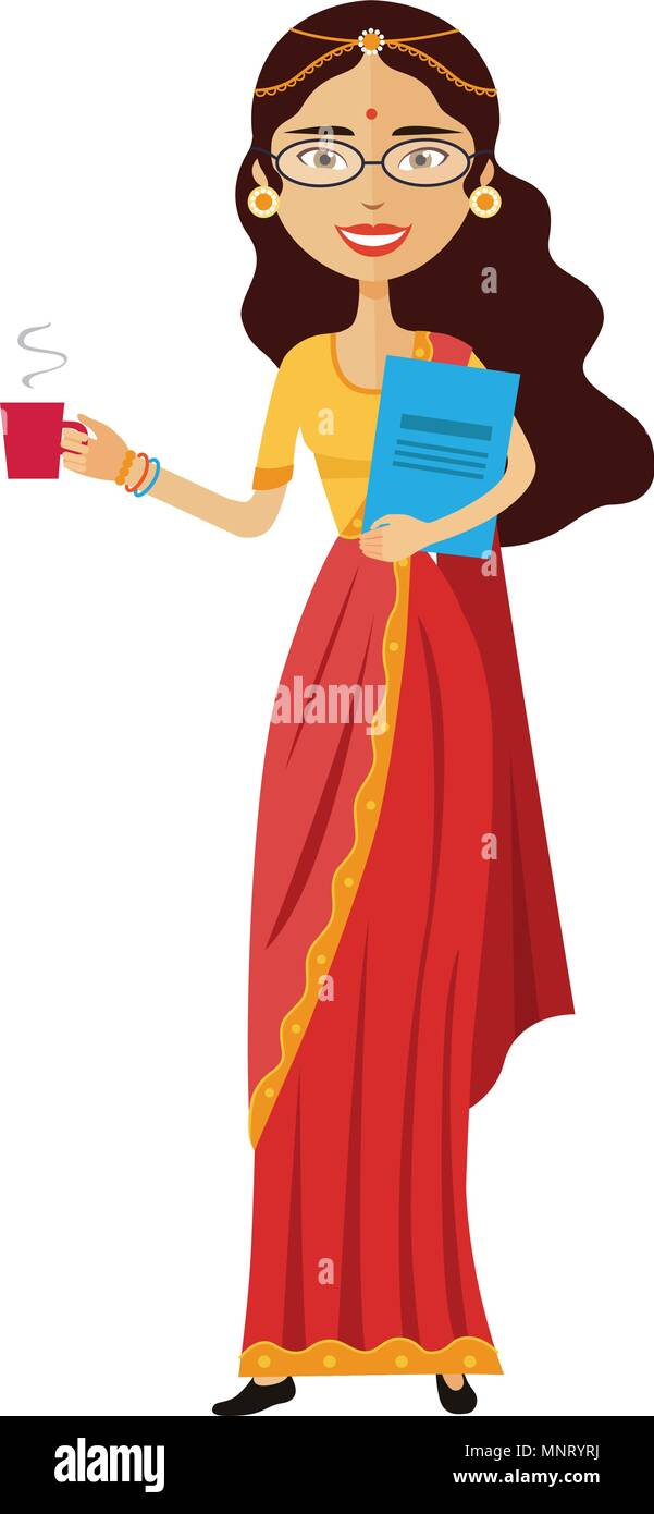 Indian business woman with a cup of tea vector flat cartoon illustration - Stock Vector