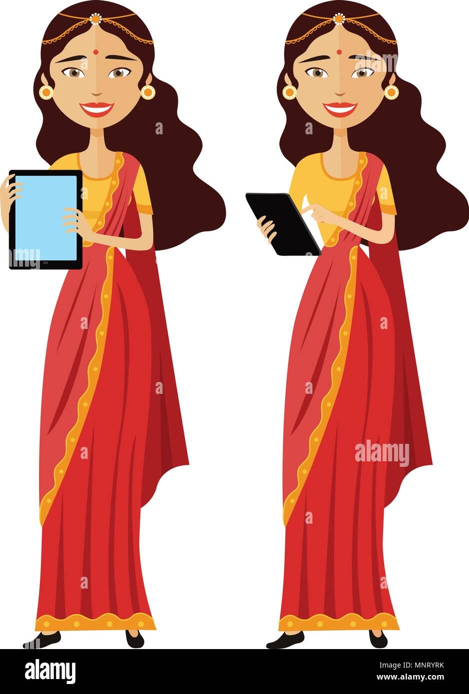 Indian smiling business woman standing with tablet isolated on white background - Stock Vector