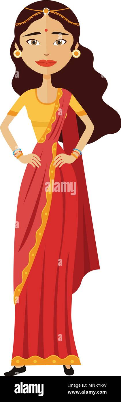 Indian business woman vector cartoon flat illustration isolated on white background - Stock Vector