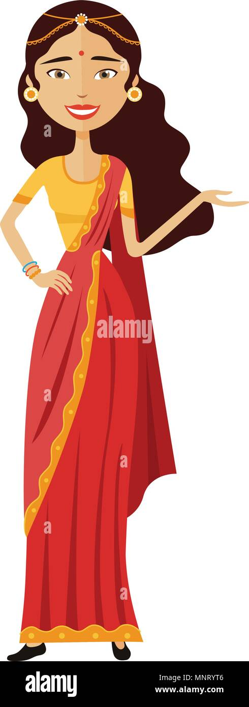 Indian businesswoman presents something vector flat cartoon illustration - Stock Vector