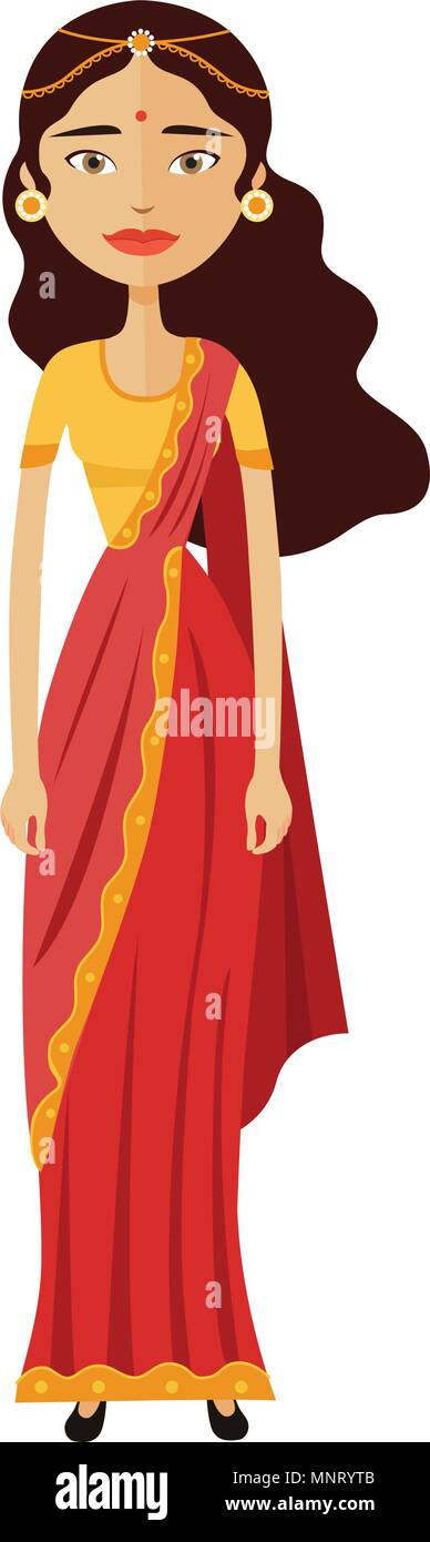 Indian young cartoon businesswoman vector illustration isolated - Stock Vector